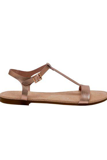 Sandale Top Secret aurii casual cu talpa joasa din piele ecologica cu barete subtiri