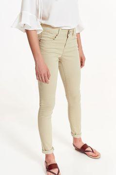 Pantaloni Top Secret piersica casual cu talie medie din bumbac cu buzunare