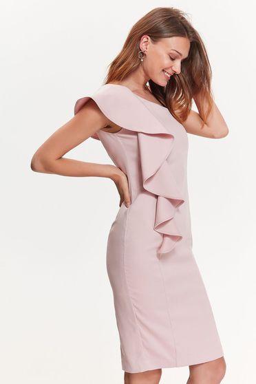 Rochie Top Secret roz eleganta tip creion din material usor elastic cu volanase