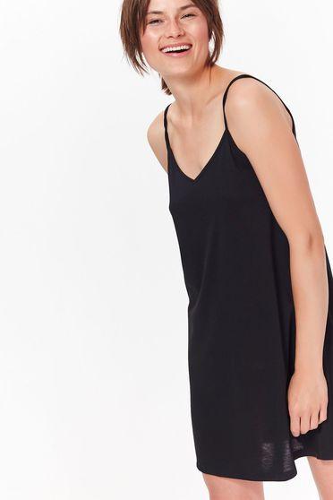 Rochie Top Secret neagra casual scurta cu croi larg cu bretele material subtire