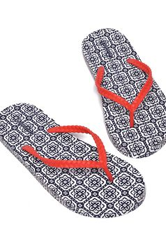 Papuci Top Secret albastri-inchis de plaja cu talpa din cauciuc cu imprimeuri grafice