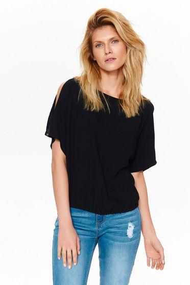 Bluza dama Top Secret neagra casual cu croi larg din material vaporos cu maneci decupate
