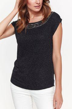 Bluza dama Top Secret gri eleganta cu croi larg din material neelastic cu aplicatii cu margele