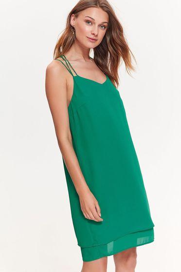 Rochie Top Secret verde-inchis eleganta cu croi larg din material vaporos cu bretele