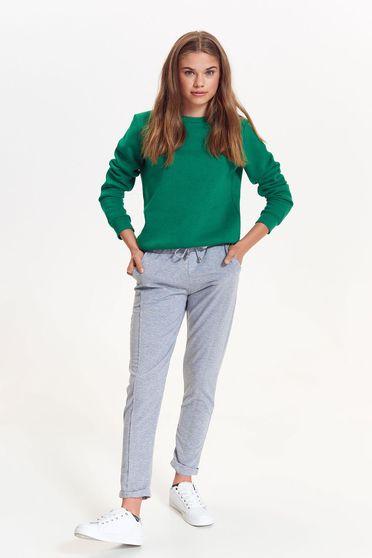 Pantaloni Top Secret gri casual din bumbac usor elastic cu snur si elastic in talie
