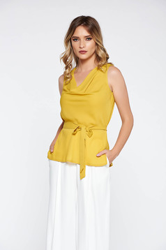 Bluza dama galbena eleganta cu croi larg din material vaporos accesorizata cu cordon
