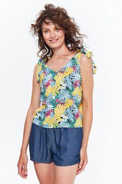 Bluza dama Top Secret galbena casual cu croi larg din material vaporos cu imprimeuri florale
