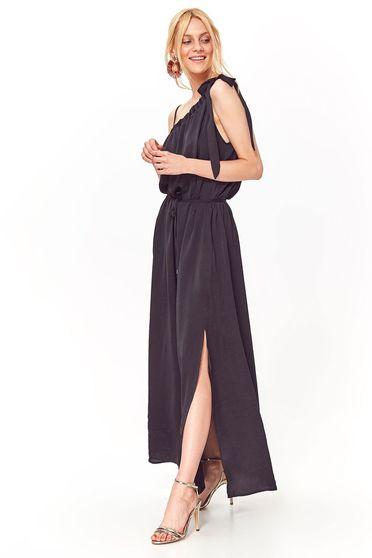 Rochie Top Secret neagra casual cu croi larg din material neelastic cu snur in talie