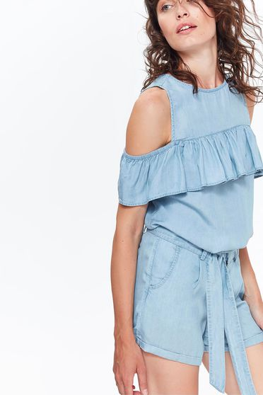 Bluza dama Top Secret albastra-deschis casual cu croi larg din denim cu umeri decupati si volanase