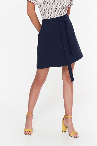Fusta Top Secret albastra-inchis casual cu un croi evazat din material usor elastic cu buzunare