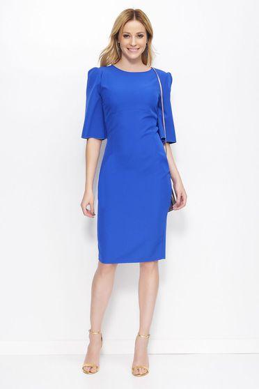 Rochie Makadamia albastra eleganta midi tip creion din material usor elastic cu guler rotunjit