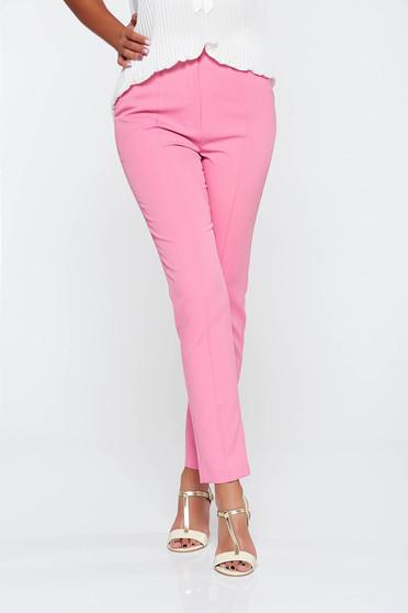 Pantaloni StarShinerS roz eleganti conici cu talie medie din stofa usor elastica cu buzunare