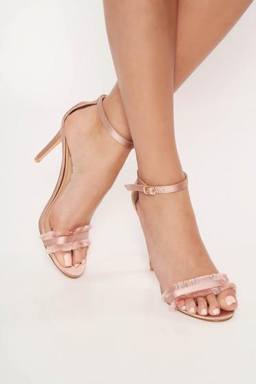 Sandale Top Secret rosa elegante cu barete subtiri