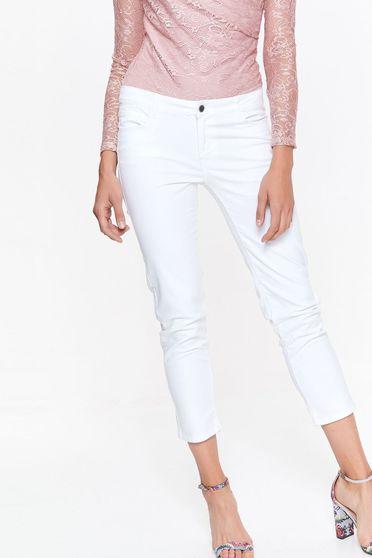Pantaloni Top Secret albe casual lunga cu talie medie din bumbac