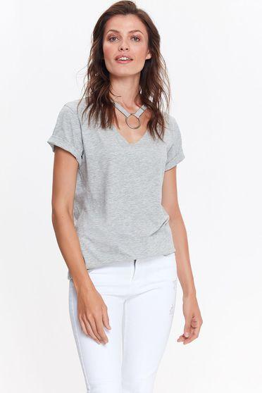 Bluza dama Top Secret gri casual cu croi larg din bumbac cu accesoriu tip colier