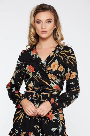 Bluza dama StarShinerS neagra casual cu decolteu din voal cu imprimeuri florale