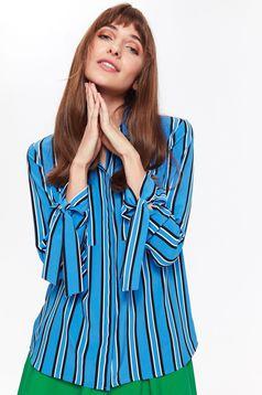 Camasa dama Top Secret albastra office cu croi larg din material vaporos neelastic cu dungi