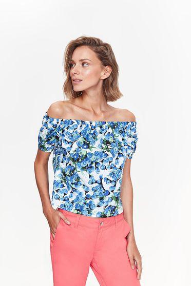 Bluza dama Top Secret alba casual cu croi larg din bumbac usor elastic cu umeri goi