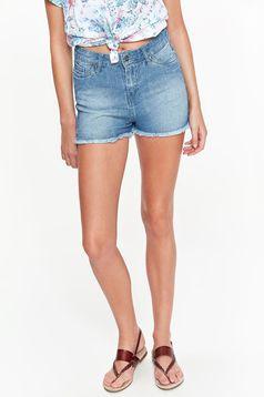 Pantalon scurt Top Secret albastru casual cu talie medie din bumbac cu buzunare