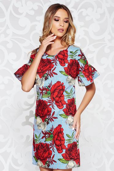 Rochie albastra casual cu un croi drept din bumbac neelastic cu imprimeuri florale