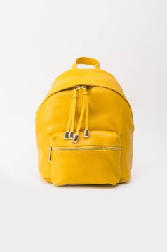Yellow casual backpacks natural leather with metal accessories