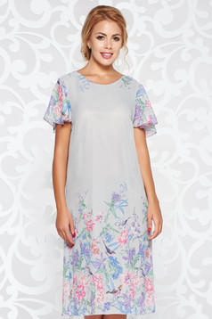 Rochie gri eleganta cu croi larg din material vaporos si transparent captusita pe interior cu imprimeu floral