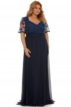 Rochie albastra-inchis de ocazie croi in clos din voal cu maneci din dantela