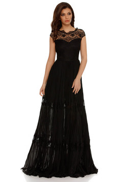 Rochie neagra de ocazie plisata in clos cu aplicatii de dantela