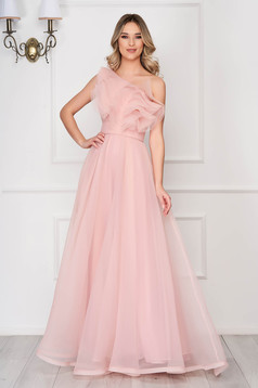 Ana Radu rosa occasional flaring cut dress with ruffles on the chest accessorized with tied waistband
