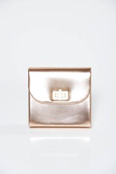 Geanta dama aurie plic de ocazie din piele ecologica cu aspect metalic