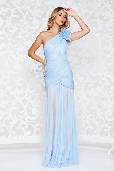 Rochie Ana Radu albastru-deschis de lux tip corset din tul captusita pe interior pe umar