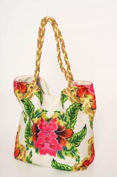 Geanta dama Cosita Linda alba de plaja cu imprimeuri florale si barete cu aspect impletit