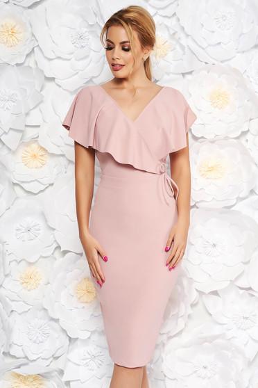 Rochie StarShinerS rosa eleganta tip creion din material elastic cu decolteu in v
