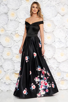 Artista black occasional dress from satin fabric texture with floral prints cloche off shoulder