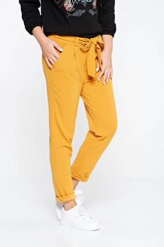 Pantaloni SunShine mustarii casual cu talie inalta din material usor elastic cu buzunare