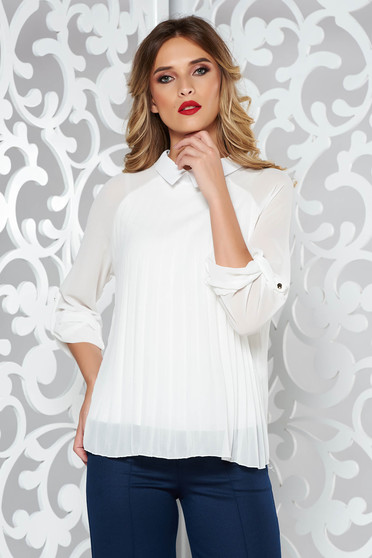 Bluza dama SunShine alba eleganta plisata cu croi larg din material vaporos si transparent captusita pe interior