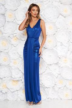 Rochie albastra de ocazie tip sirena din material usor elastic cu aspect metalic captusita pe interior