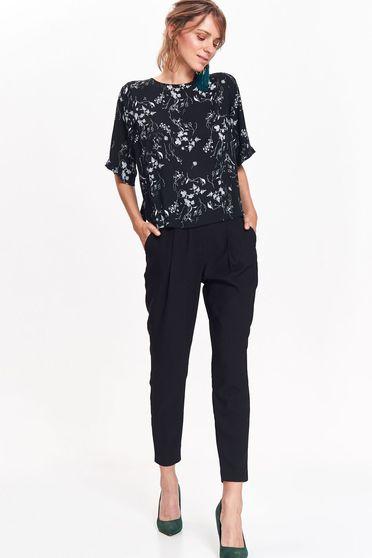 Bluza dama Top Secret neagra office cu croi larg din material neelastic cu imprimeuri florale