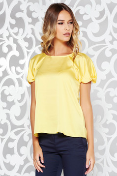 Bluza dama galbena eleganta cu croi larg din material satinat cu maneca scurta