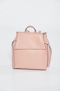 Rucsac roz deschis casual din piele naturala cu manere reglabile
