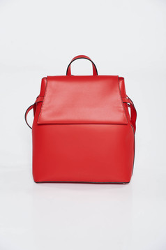 Red casual backpacks natural leather