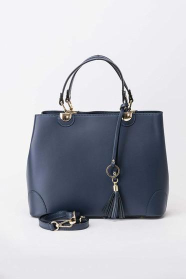 Geanta dama albastra-inchis office din piele naturala cu maner lung reglabil