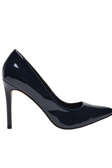 Pantofi Top Secret albastru-inchis elegant din piele ecologica lacuita cu varful usor ascutit