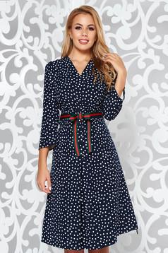 Rochie albastra-inchis eleganta in clos material fin la atingere cu buline cu decolteu in v