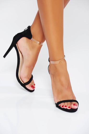 Sandale negre de ocazie din piele ecologica cu barete subtiri
