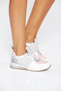 Pantofi sport roz casual din piele ecologica cu talpa joasa si cu siret
