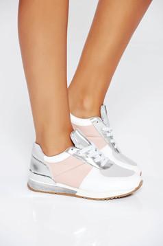 Pantofi sport gri casual din piele ecologica cu talpa joasa si cu siret