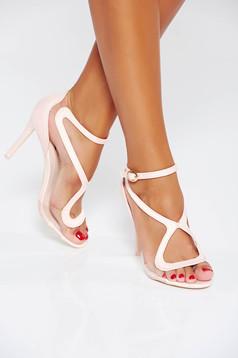 Sandale roz de ocazie cu barete subtiri din piele ecologica
