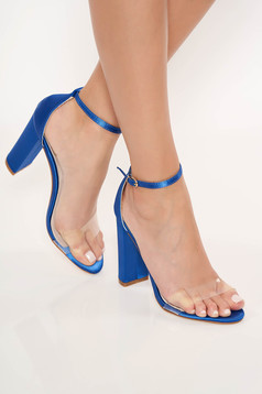 Blue elegant sandals from ecological leather with thin straps chunky heel