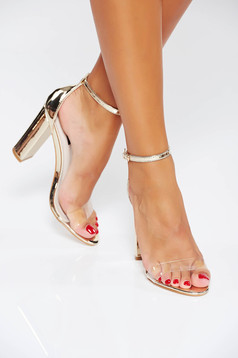 Sandale aurii elegante din piele ecologica cu barete subtiri si toc gros